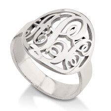 Sterling Silver Framed Monogram Ring