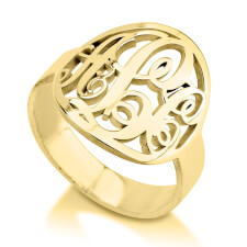 24K Gold Plated Framed Monogram Ring