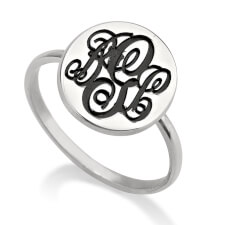 Sterling Silver Circle Monogram Ring