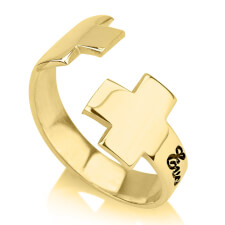 24K Gold Plated Name Loop Cross Ring