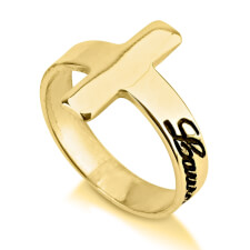 24K Gold Plated Cross Name Ring