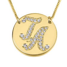 14K Gold Cubic Zirconia Medallion Initial Necklace
