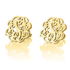 24K Gold Plated Stud Monogram Earrings