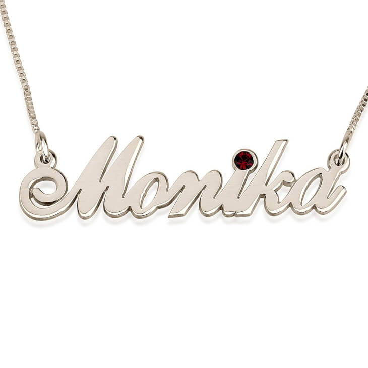 Birthstone Silver Name Necklace