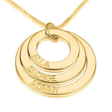14K Gold Three Ring Engraved Mother Necklace