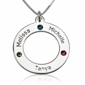 Sterling Silver Engraved Family Name Birthstone Necklace
