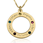 24K Gold Plated Engraved Family Name Birthstone Necklace - Thumb