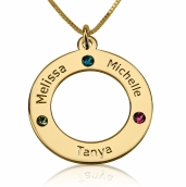 24K Gold Plated Engraved Family Name Birthstone Necklace