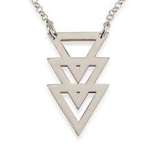 Sterling Silver Triple Stacked Triangle Necklace