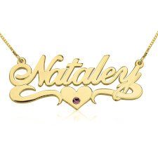 24K Gold Plated Swarovski with Middle Heart Name Necklace