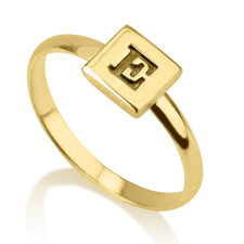 24k Gold Plated Cube Midi Ring