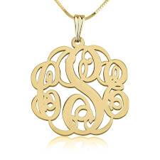 24k Gold Plated Twisted Monogram Necklace
