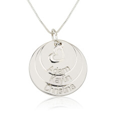 Sterling Silver Engraved Mother Disc Necklace with Heart