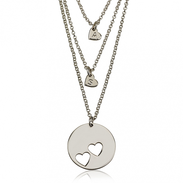 Mother Daughter Heart Necklace Set