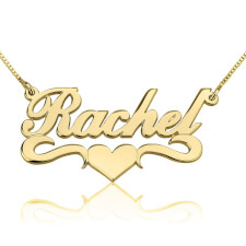 14K Gold Alegro with Middle Heart Name Necklace