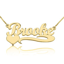 14K Gold Handwritten with Side Heart Name Necklace