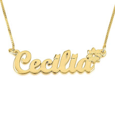 14K Gold Handwritten with Flower Name Necklace