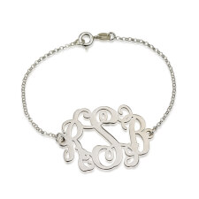 Bracelet Monogramme Ondulé en Argent