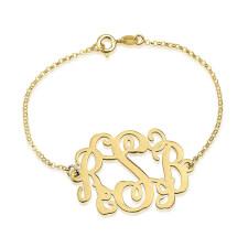 Bracelet Monogramme Ondulé en Plaqué Or