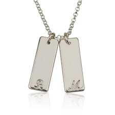 Silver Small Vertical Bar Initial Necklace