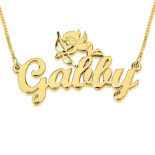 14K Gold Handwritten Name Necklace with Bent Cupid
