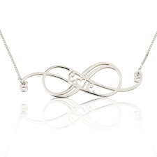 Sterling Silver Swirly Initial Infinity Necklace