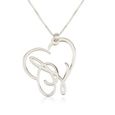 Sterling Silver Script Initial Heart Necklace