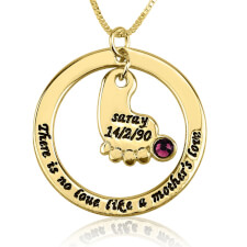 24k Gold Plated Mother's Baby Footprint Love Necklace with Birthstone