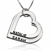 Sterling Silver Engraved Heart Mother Necklace