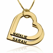 24k Gold Plated Engraved Heart Mother Necklace