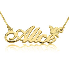14K Gold Alegro Name Necklace with Angel