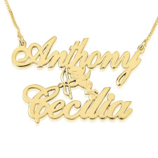 14K Gold Two Alegro Name Necklaces with Cupid