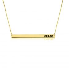 24k Gold Plated Thin Monogram Bar Necklace