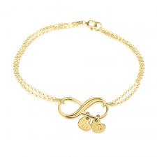 Bracelet Infini avec Charms Cœur Initiale en Plaqué Or
