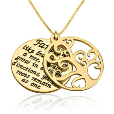 24k Gold Plated Family Tree Of Life Necklace