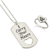 Sterling Silver I Carry Your Heart with Me Dog Tag and Ring Set