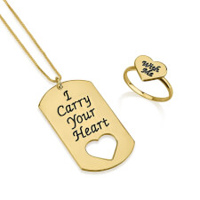 24k Gold Plated I Carry Your Heart with Me Dog Tag and Ring Set