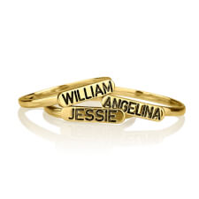 24k Gold Plated Engraved Name Stacking Ring