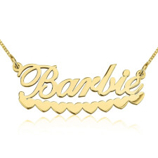 14K Gold A Barbie Hearts Name Necklace