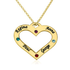 24k Gold Plated Engraved Heart Family Name and Birthstone Necklace