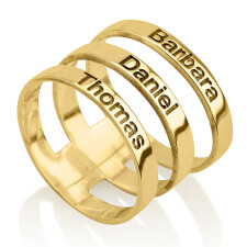 24k Gold Plated Engraved Name Layered Ring