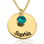 24k Gold Plated Engraved Disc Name Necklace with Birthstone - Thumb