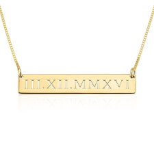 24k Gold Plated Roman Numeral Engraved Bar Necklace