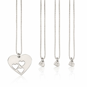 Sterling Silver Floating Initial Hearts Mother Daughter Necklace Set