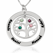 Sterling Silver Family Tree Birthstone Name Necklace