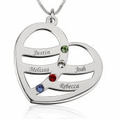 Sterling Silver Engraved Name and Birthstone Heart Mother Necklace