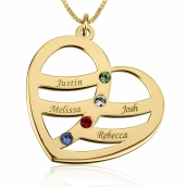24k Gold Plated Engraved Name and Birthstone Heart Mother Necklace