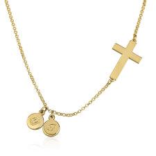 Collier Croix Latérale avec Initiales en Plaqué Or