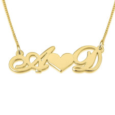 14K Gold Initials Necklace with Heart