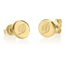 24k Gold Plated Circle Initial Stud Earrings